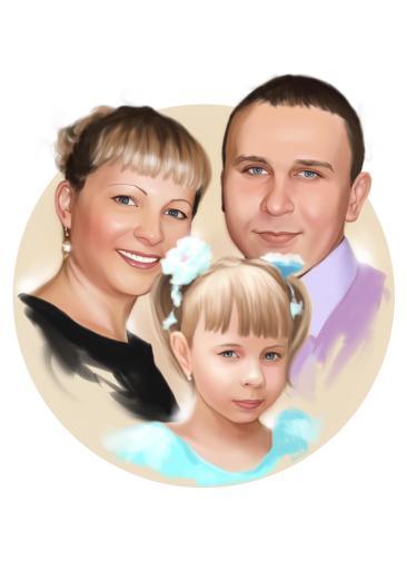 Семейный портрет по фото на холсте в Туле — правильный подарок!