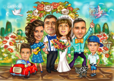 Шарж по фото на годовщину свадьбы на заказ в Туле…